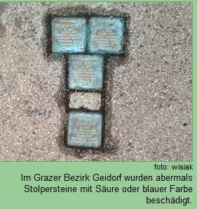 STolpersteine Graz Beschaedigung 2015